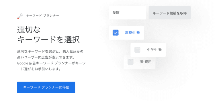Googleキーワードプランナー(キーワードボリューム調査)